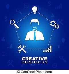 homem negócios, momento, criatividade