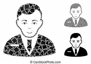 homem negócios, mosaico, raggy, partes, ícone