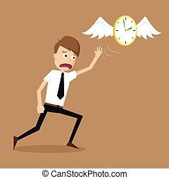 homem negócios, mosca, afastado, asas, relógio, fuga
