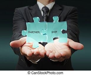 """homem negócios, mostra, """"3d, partnership"""", escrito, confunda..."""