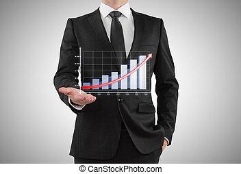 homem negócios, mostra, gráfico