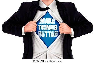 homem negócios, mostrando, fazer, coisas, melhor, palavras, embaixo, seu, shir