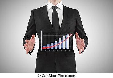 homem negócios, mostrando, mapa