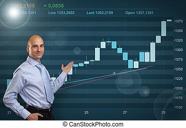 homem negócios, mostrando, mercado conservado estoque, gráfico