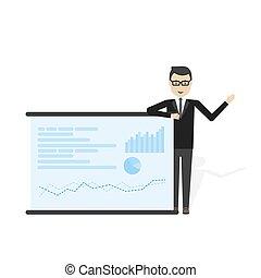homem negócios, mostrando, mercado parte, gráfico