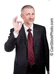 homem negócios, mostrando,  ok, gesto
