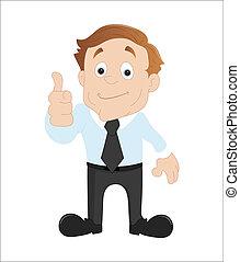 homem negócios, mostrando, polegares cima