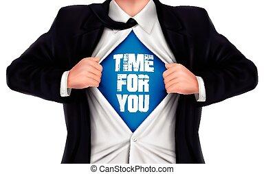 homem negócios, mostrando, tempo, por si, palavras, embaixo, seu, camisa