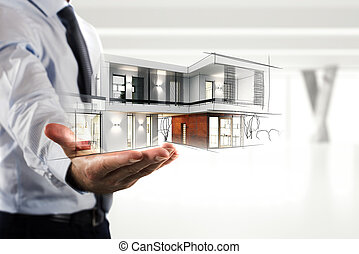 homem negócios, mostrando, um, modernos, escritório, projeto