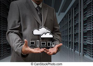 homem negócios, mostrar, nuvem, rede, ícone, ligado, quarto usuário