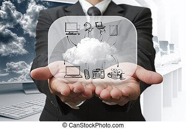 homem negócios, mostrar, nuvem, rede, ligado, vidro, tábua