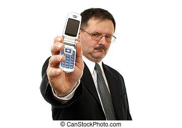 homem negócios, mostrar, telefone móvel
