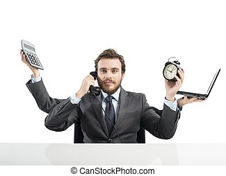 homem negócios, multitasking