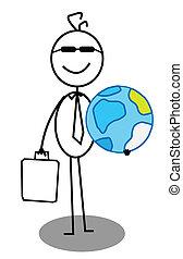 homem negócios, mundo