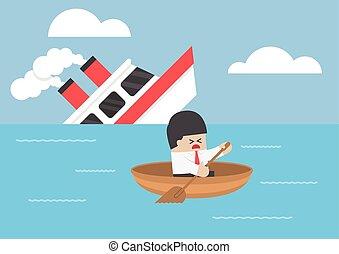 homem negócios, naufrágio, fuga