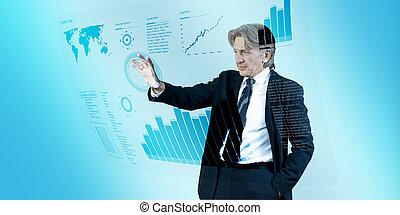 homem negócios, navegar, interface, em, futuro