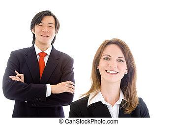 homem negócios, negócio, caucasiano, equipe, mulher sorridente, asiático, branca
