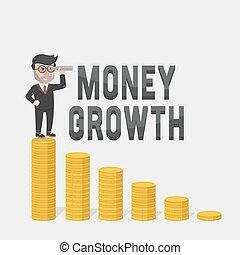 homem negócios, olhar, dinheiro, crescimento