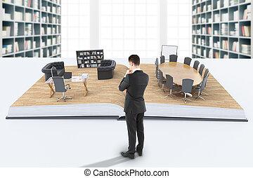 homem negócios, olhar, escritório
