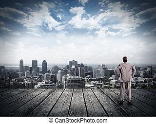 homem negócios, olhar, urbano, vista.
