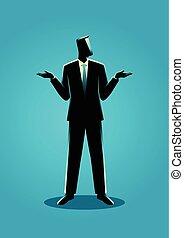 homem negócios, ombros, shrugging