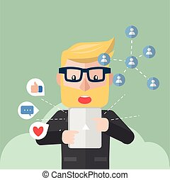 homem negócios, online, notificação