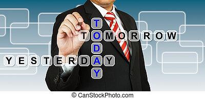 homem negócios, ontem, hoje, amanhã, fraseio