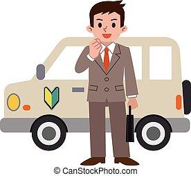 homem negócios, operação, principiante, car