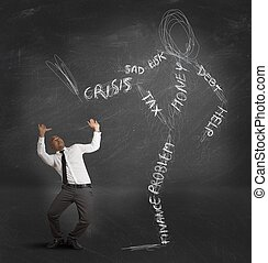homem negócios, oprimido, crise