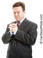 homem negócios, oração