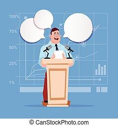 homem negócios, orador, candidato, público, fala, reunião conferência, seminário negócio
