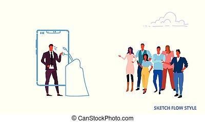 homem negócios, orador, usando, móvel, app, homem negócio, ficar, em, tribuna, líder, candidato, online, entrevista coletiva, smartphone, tela, esboço, fluxo, estilo, horizontais