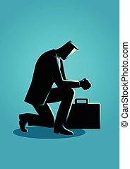 homem negócios, orando, ilustração