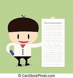 homem negócios, ou, manager., ilustração, de, negócio, plan., um, homem, em, um, paleto, mostra, um, plano negócio