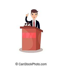 homem negócios, ou, político, personagem, falando, de, tribuna, orador público, político, debates, vetorial, ilustração