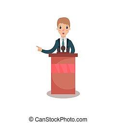homem negócios, ou, político, personagem, falando, para, audiência, de, tribuna, orador público, político, debates, vetorial, ilustração