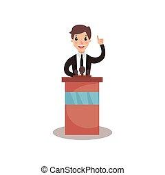 homem negócios, ou, político, personagem, ficar, em, tribuna, com, microfone, e, dar, um, fala, orador público, político, debates, vetorial, ilustração