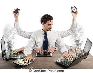 homem negócios overworked