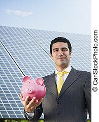homem negócios, painéis, solar