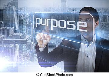 homem negócios, palavra, apresentando, propósito
