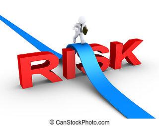 homem negócios, palavra, superar, risco