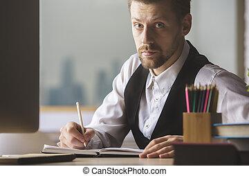homem negócios,  paperwork, bonito