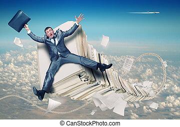 homem negócios, paperwork, pilha