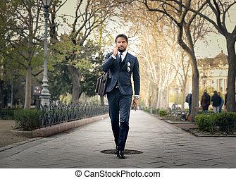 homem negócios, parque