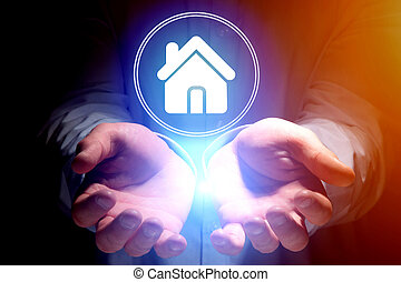 homem negócios, passe segurar, lar, ícone, -, tecnologia, conceito