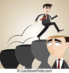 homem negócios, passo, cabeça, caricatura