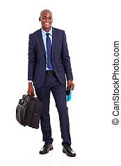 homem negócios, pasta, africano