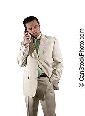 homem negócios, pda, telefone