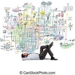 homem negócios, pensa, aproximadamente, um, novo, projeto