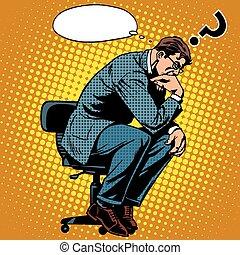 homem negócios, pensador, conceito, negócio